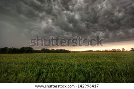 The image shows an approaching storm. - stock photo