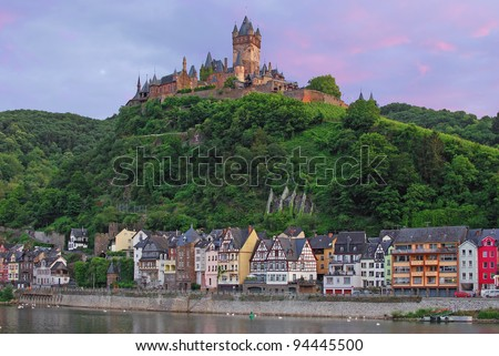 the imperial Castle in Cochem at Mosel,Germany - stock photo