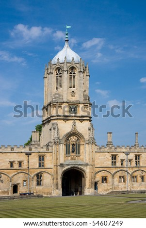 The imposing Tom Tower of Christ Church, Oxford University - stock photo