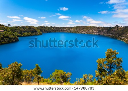 The incredible Blue Lake at Mt Gambier, South Australia - stock photo