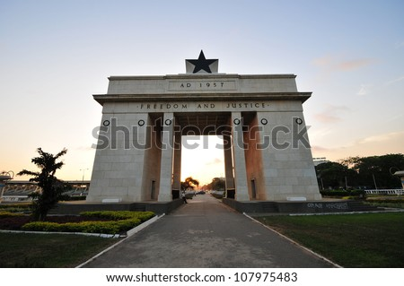 "The Independence Square of Accra, Ghana, inscribed with the words ""Freedom and Justice, AD 1957"", commemorates the independence of Ghana, a first for Sub Saharan Africa. - stock photo"