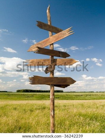 The index of directions on a background of the blue sky - stock photo
