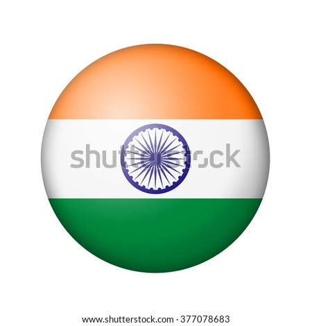 The Indian flag. Round matte icon. Isolated on white background. - stock photo