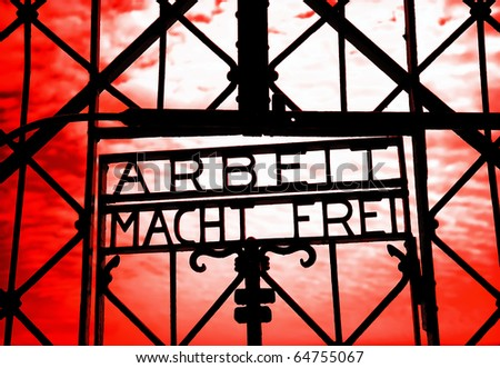 The infamous script in Dachau Concentration Camp - stock photo