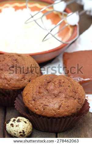 The ingredients for baking chocolate  cupcakes  - stock photo