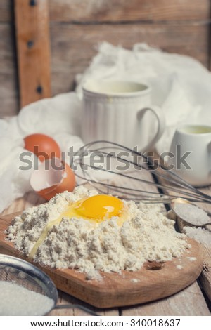 the ingredients for the dough - stock photo