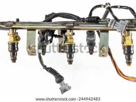 the injection system of the engine's car - stock photo