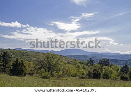 The inland of Istria with its idyllic landscape is a paradise for hikers and mountain bikers - stock photo