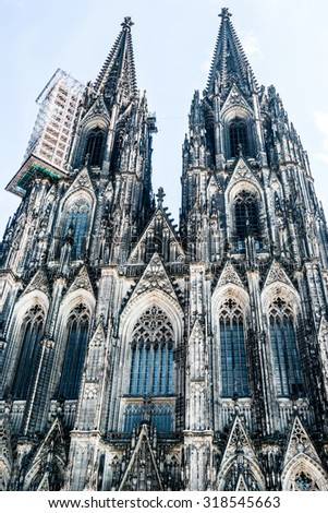 The inmpressive and famous cathedral of Cologne, Germany - stock photo