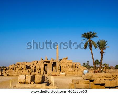 The inner court inside the temple of Kanark with obelisk, Luxor, Egypt - stock photo