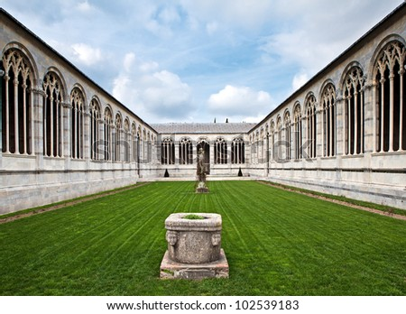 The inner court of Campo Santo in Cathedral Square in Pisa, Italy. Also known as Camposanto Monumentale - stock photo