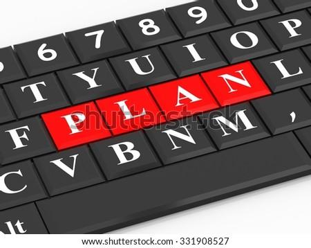 The inscription plan on the black keyboard - stock photo