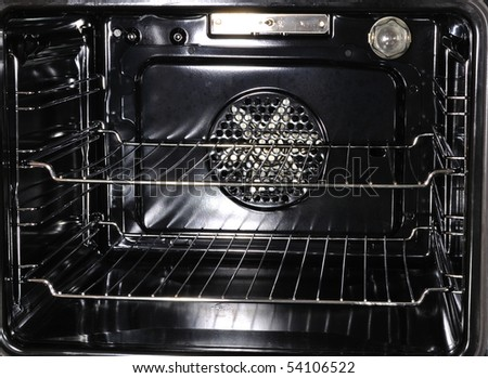 The inside of a modern oven - stock photo