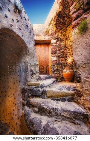 The inside of Akrotiri Venetian castle, Santorini island, Greece - stock photo