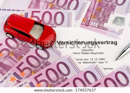 the insurance contract for a new car. choice between hull and liability insurance - stock photo