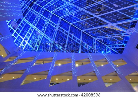 The interior look of the city hall in blue lighting, edmonton, alberta, canada - stock photo