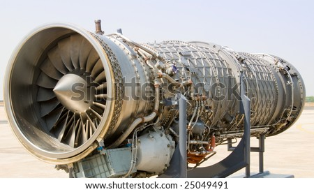 The interior of a jet engine - stock photo