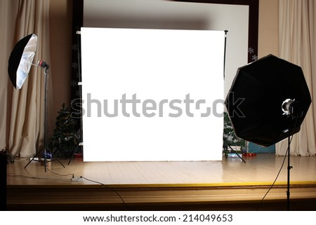 The interior of a modern photo studio - stock photo