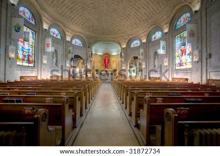 The interior of the Basilica of St. Lawrence in Asheville, NC - stock photo