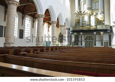 The interior of the church. Netherlands, Delft - stock photo
