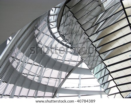 The interior of the dome at the parliament building in Berlin - stock photo
