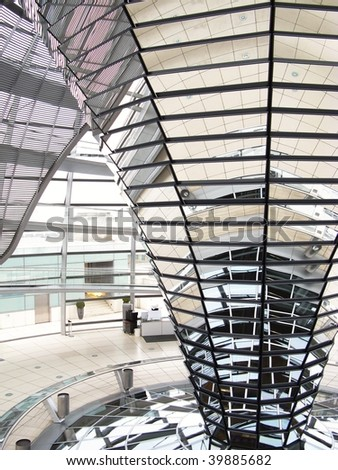 The interior of the dome of the reichstag building in Berlin - stock photo