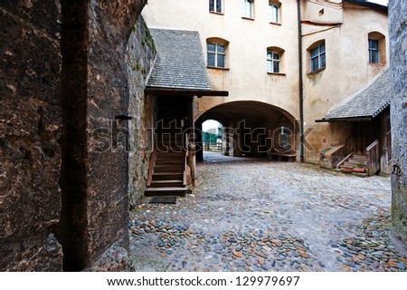 The Interior of the Fortress in the Bavarian Town of Burghausen - stock photo