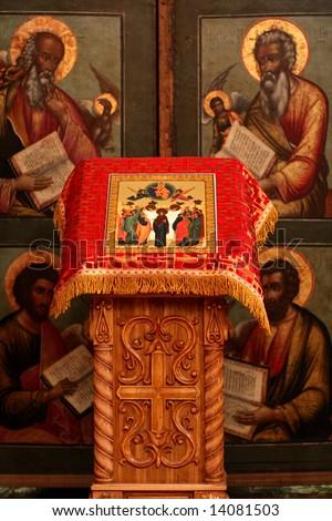 The interior of the orthodox church, Uglich, Russia - stock photo