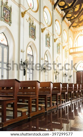 The interior of the Roman Catholic Church(The Nativity of Our Lady Cathedral), Samutsongkhram, Thailand. built in 1890. One of the beautiful gothic style building in Thailand. - stock photo