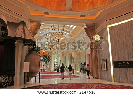 the interior of the Wynn Hotel in Las  Vegas - stock photo