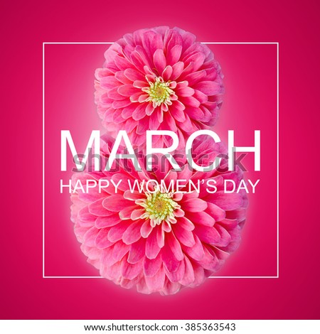 The international women's day on March, 8th greeting background with Flowers petal number 8 - stock photo