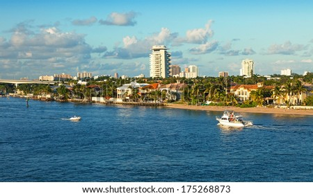 The intracoastal waterway that runs through Ft. Lauderdale, Florida - stock photo