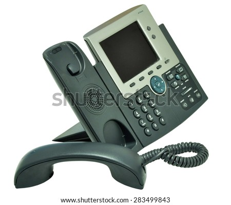 The IP Phone isolated on white background - stock photo