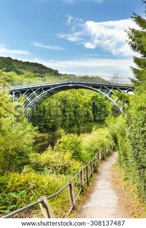 The Iron Bridge over the River Severn, Ironbridge Gorge, Shropshire, England, UK. - stock photo