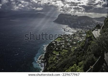 The Island of Capri. Photo is taken from Anacapri. - stock photo