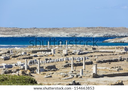The island of Delos,one of the most important mythological, historical and archaeological sites in Greece - stock photo