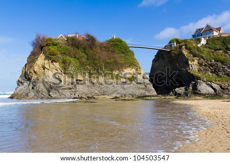 The Island on Towan Beach Newquay Cornwall England UK - stock photo