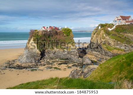 The Island on Town Beach at Newquay Cornwall England UK Europe - stock photo