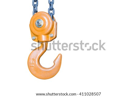 the isolate of orange hook and chain with the white back ground - stock photo