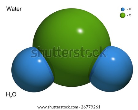 The isolated 3D model of water on a white background - stock photo