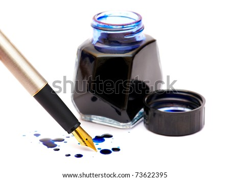 The isolated dark blue ink, drops and gold pen - stock photo