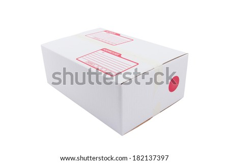the isolated of the white box for packaging with shipping from post office - stock photo