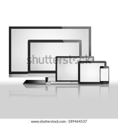 the isolated paper cut of tablet,smart tv, phone mobile, computer monitor with flat screen is modern display technology for digital electronic - stock photo