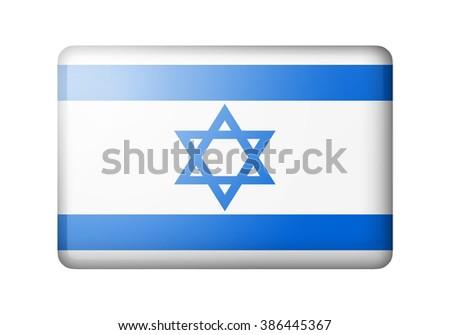 The Israeli flag. Rectangular matte icon. Isolated on white background. - stock photo