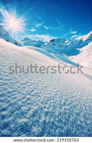 The italian alps in winter - stock photo
