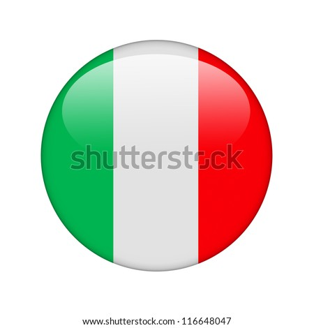 The Italian flag in the form of a glossy icon. - stock photo