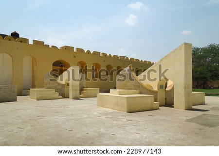 the Jantar Mantar, a collection of architectural astronomic instruments in jaipur (Rajasthan, India) - stock photo