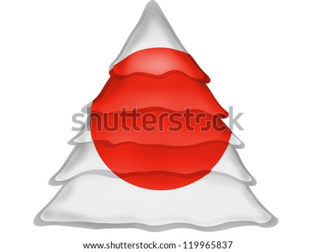 The Japan flag painted on  Christmas xmas tree icon - stock photo