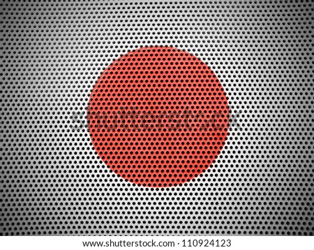The Japan flag painted on  metall grill - stock photo