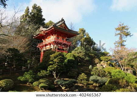 The Japanese Tea Garden, a popular feature of Golden Gate Park, is the oldest public Japanese garden in the United States. - stock photo